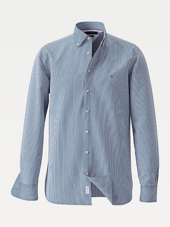 blue stripe peached cotton poplin shirt for men tommy hilfiger