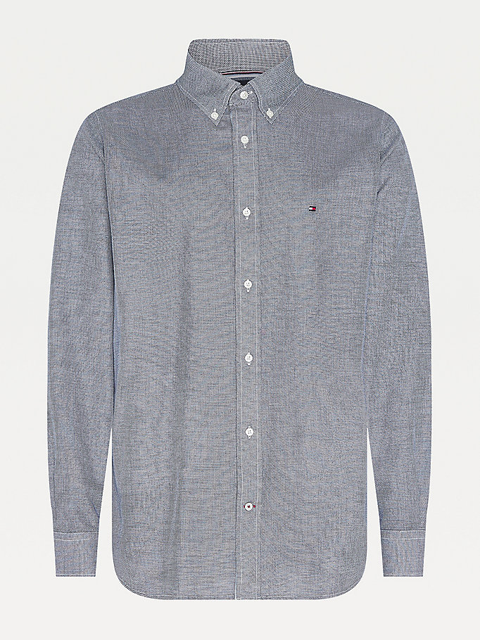 blue cotton dobby shirt for men tommy hilfiger