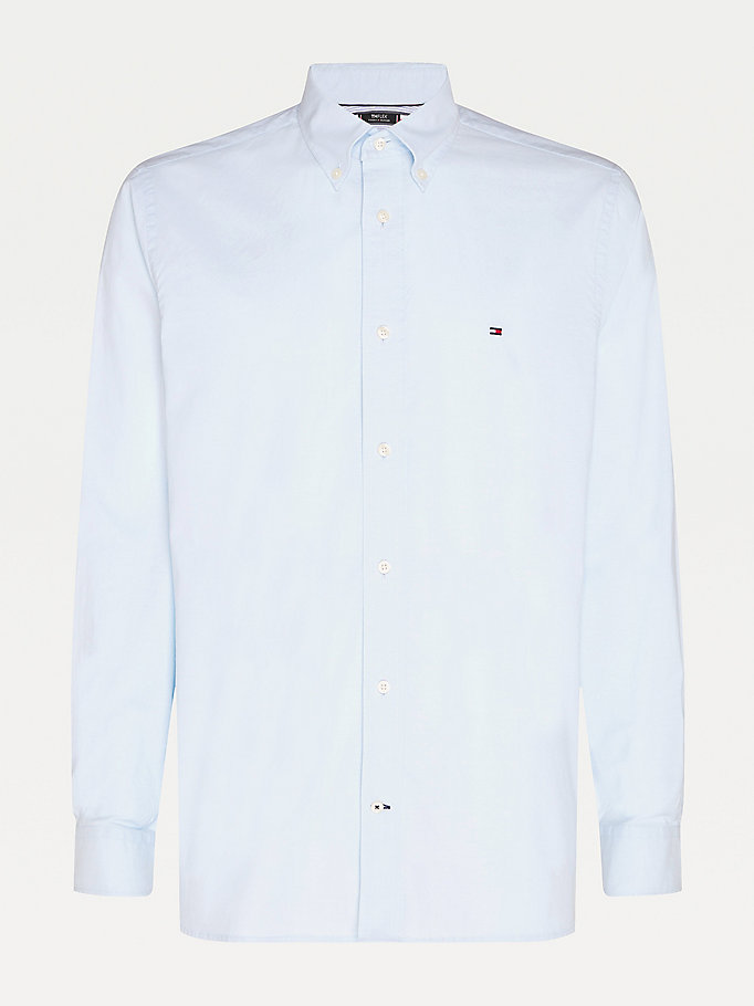 blue th flex organic cotton oxford shirt for men tommy hilfiger