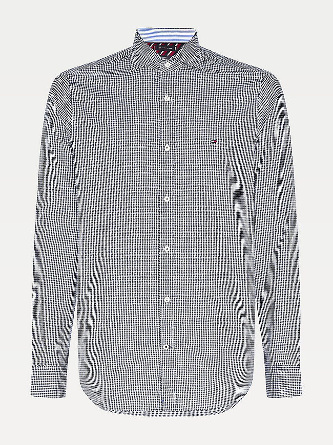 blue micro houndstooth slim fit shirt for men tommy hilfiger