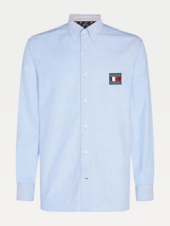 blau th flex tommy icons hemd mit flag-badge für herren - tommy hilfiger