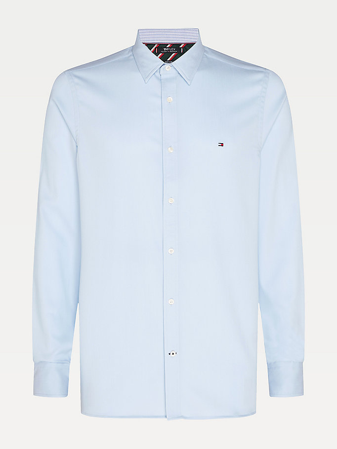 blue stretch slim fit dobby shirt for men tommy hilfiger