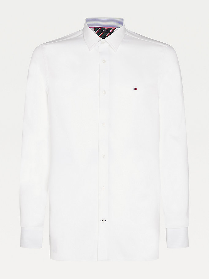 white stretch slim fit dobby shirt for men tommy hilfiger