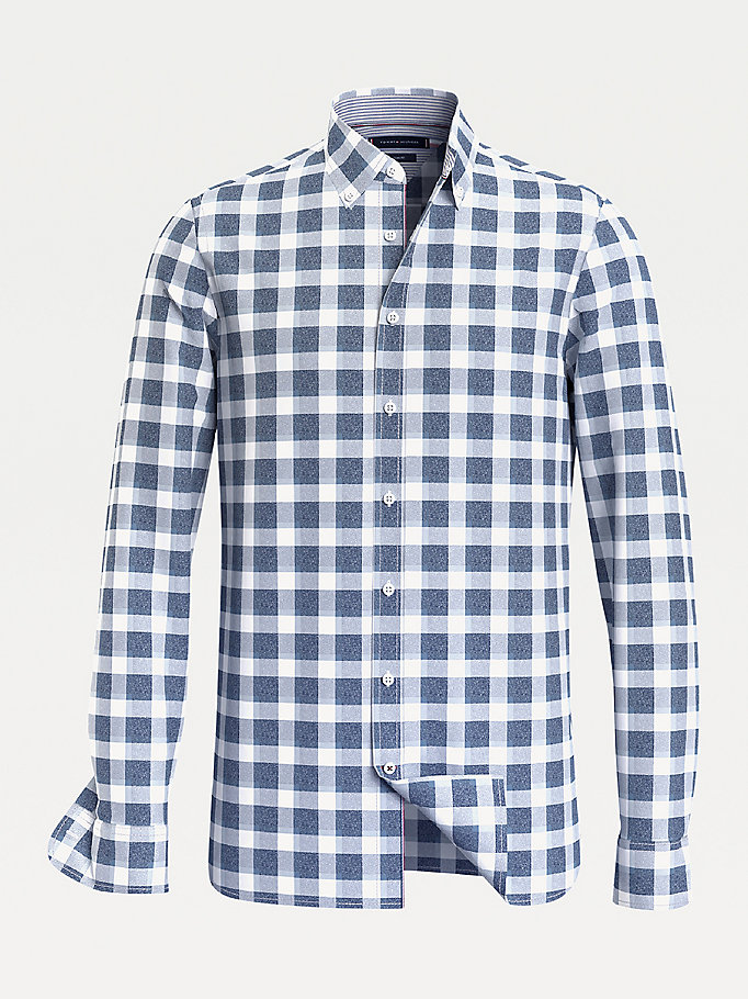 blue brushed cotton check slim fit shirt for men tommy hilfiger