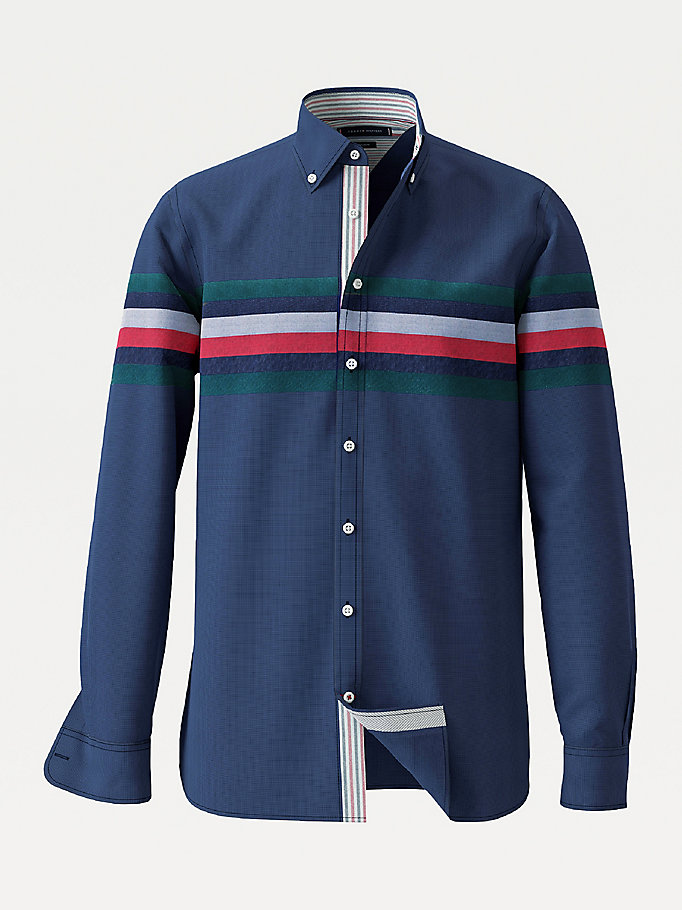 blue tommy icons stripe shirt for men tommy hilfiger