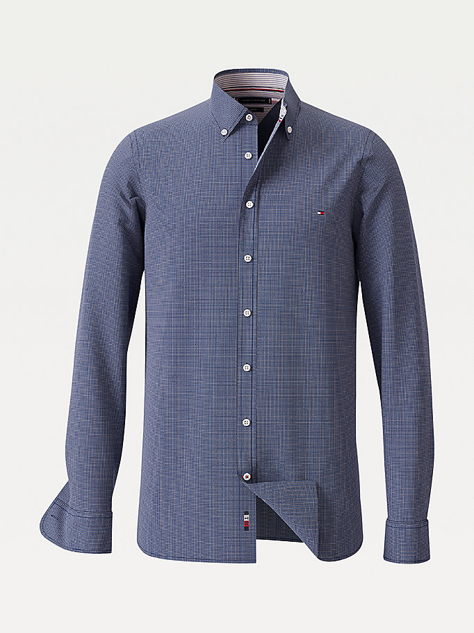 blue textured slim fit shirt for men tommy hilfiger