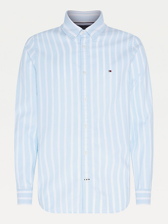 blue dobby stripe slim fit shirt for men tommy hilfiger