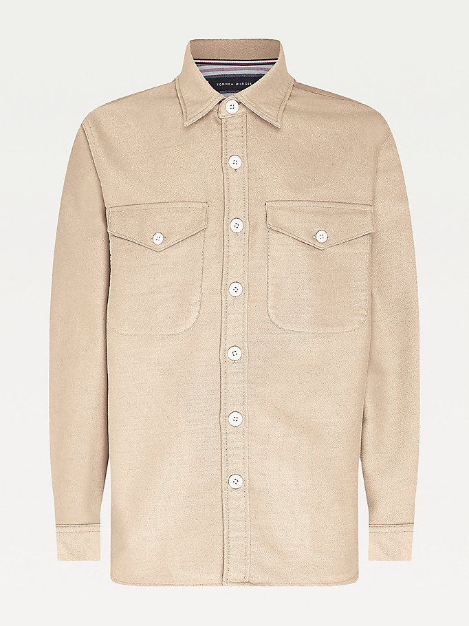 beige moleskin relaxed fit overshirt for men tommy hilfiger