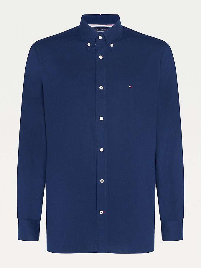 blue cotton cashmere blend shirt for men tommy hilfiger