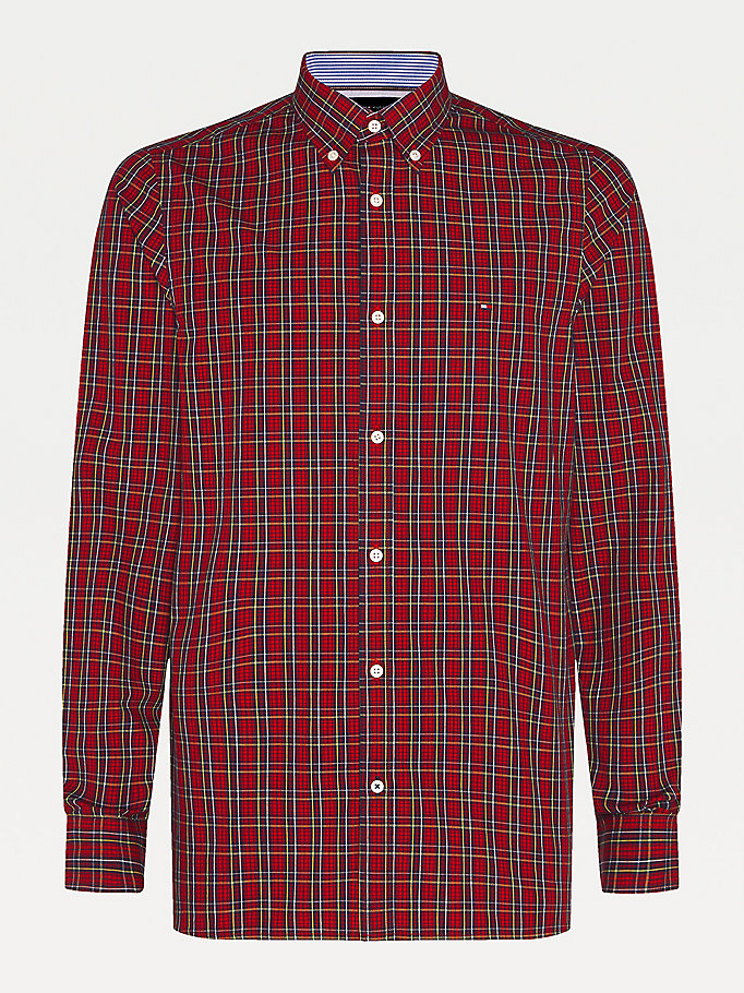 red plaid check slim fit shirt for men tommy hilfiger