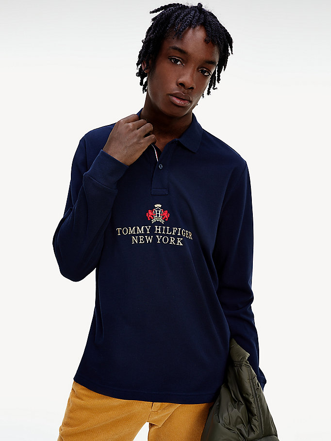 polo tommy icons manches longues coupe standard bleu pour hommes tommy hilfiger