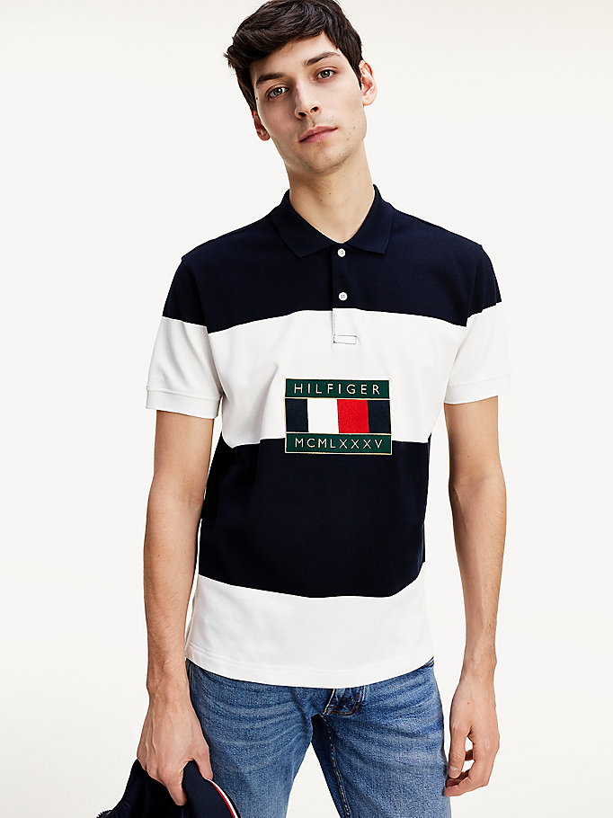 polo tommy icons color block blu da uomo tommy hilfiger