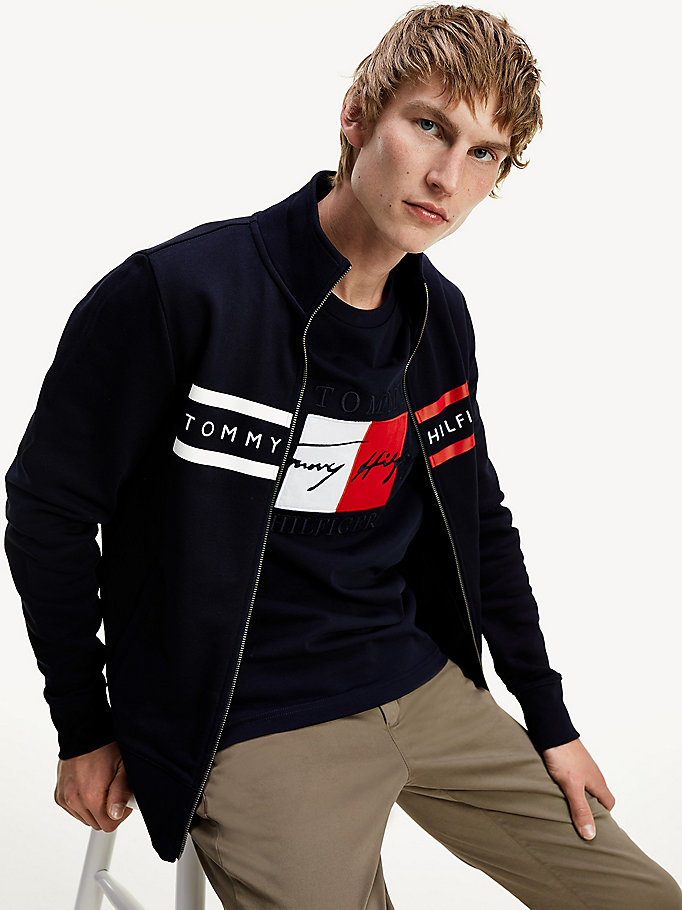 blue logo embroidery zip-thru sweatshirt for men tommy hilfiger