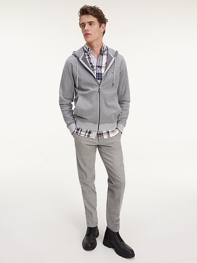 grey herringbone zip-thru hoody for men tommy hilfiger