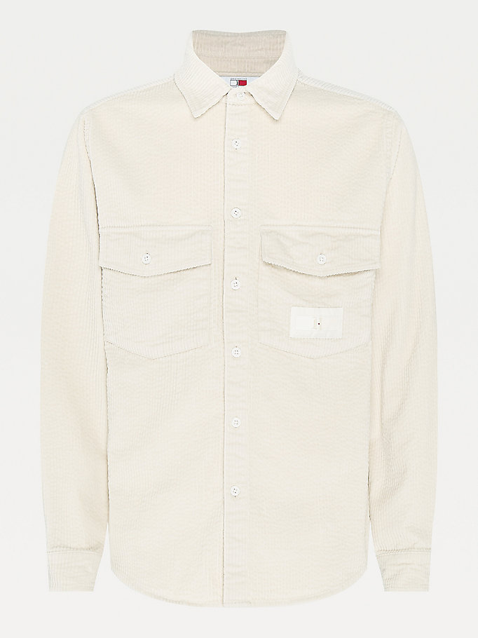 beige lewis hamilton chunky corduroy shirt for men tommy hilfiger