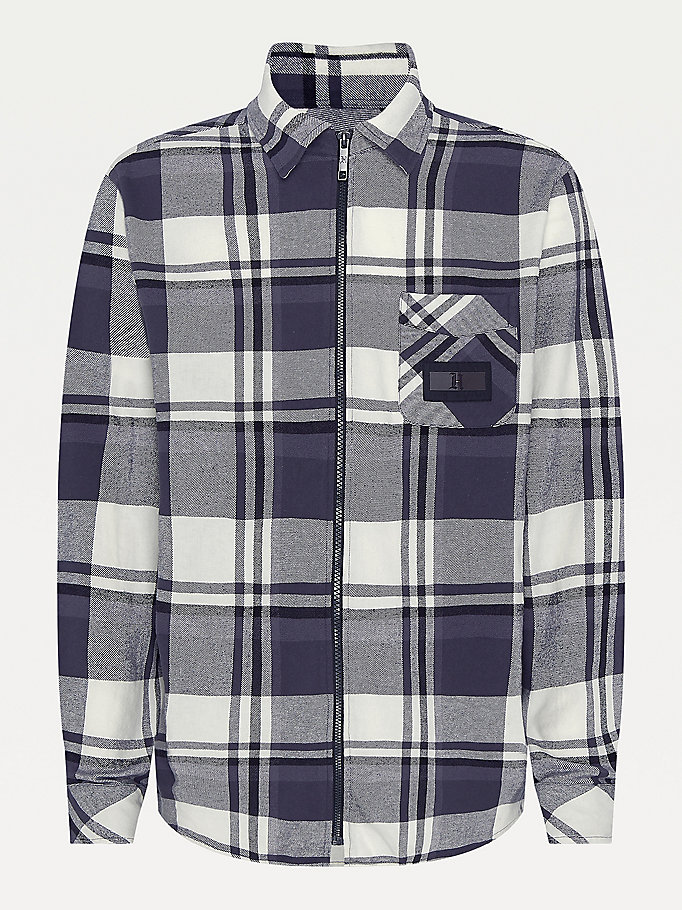 black lewis hamilton check flannel shirt for men tommy hilfiger