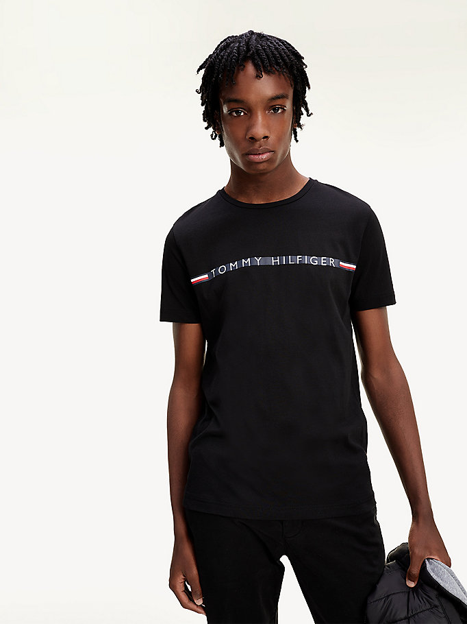 black organic cotton logo t-shirt for men tommy hilfiger