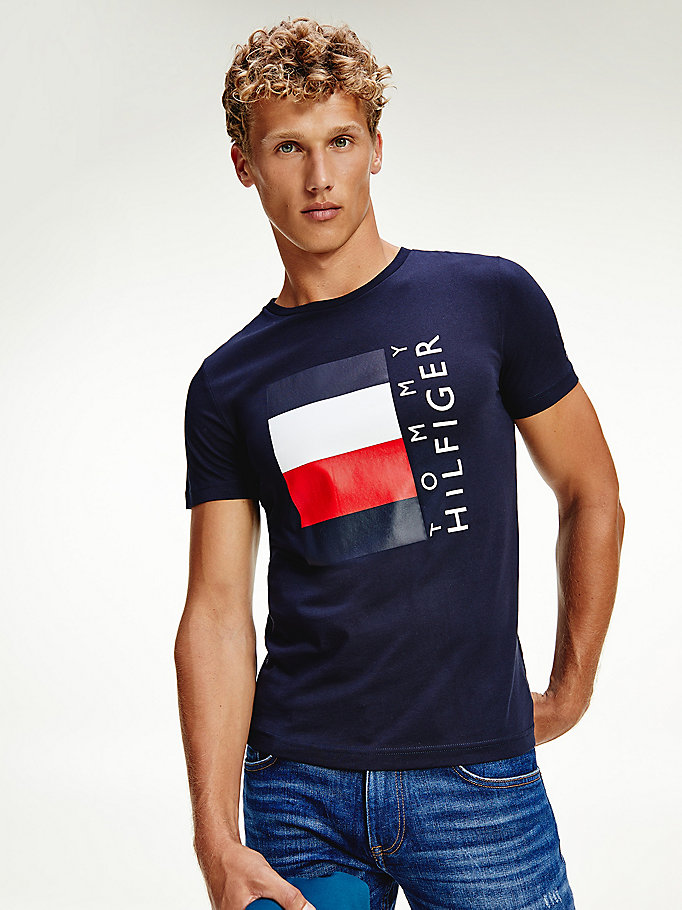 blue organic cotton box logo t-shirt for men tommy hilfiger
