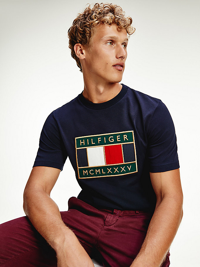 blue global flag relaxed fit t-shirt for men tommy hilfiger