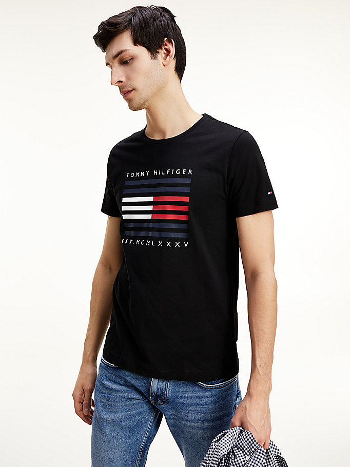 black organic cotton flag t-shirt for men tommy hilfiger
