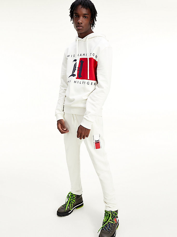 white lewis hamilton vertical logo joggers for men tommy hilfiger