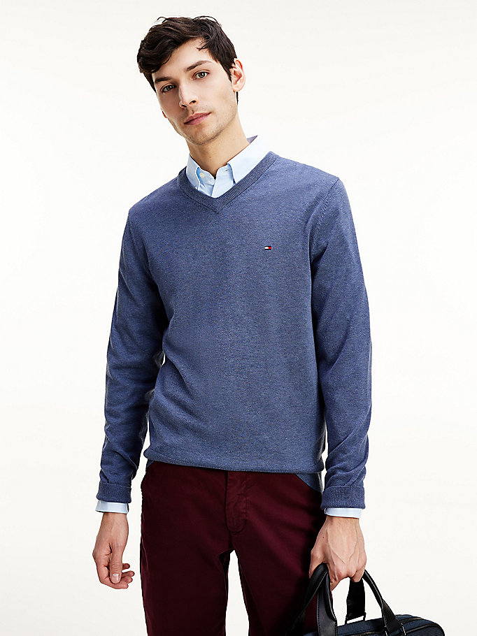 blue organic cotton silk v-neck jumper for men tommy hilfiger