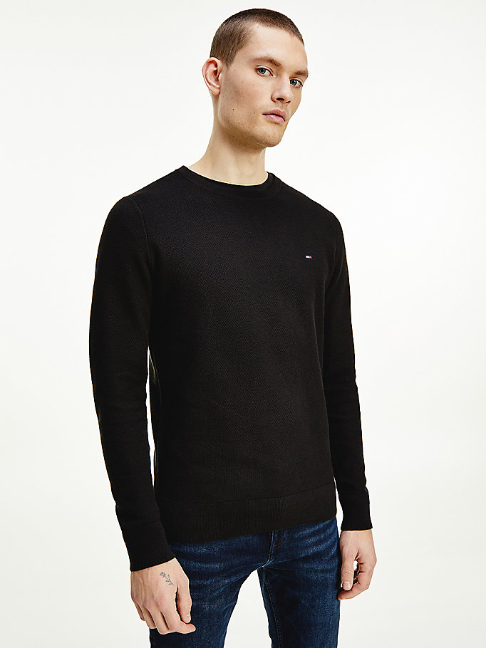 black honeycomb knit crew neck jumper for men tommy hilfiger