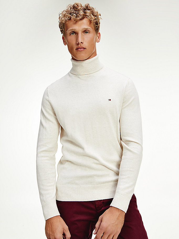 beige pima cotton cashmere roll neck jumper for men tommy hilfiger
