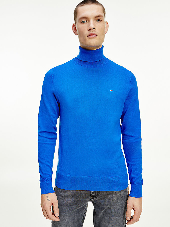 blue pima cotton cashmere roll neck jumper for men tommy hilfiger