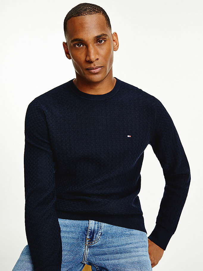 blue textured weave crew neck jumper for men tommy hilfiger