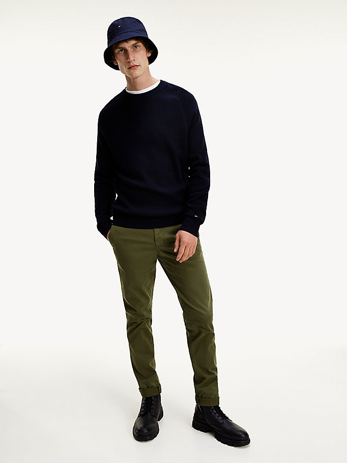 blue organic cotton contrast knit jumper for men tommy hilfiger