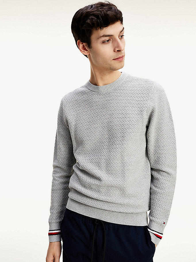 grey organic cotton chevron knit jumper for men tommy hilfiger