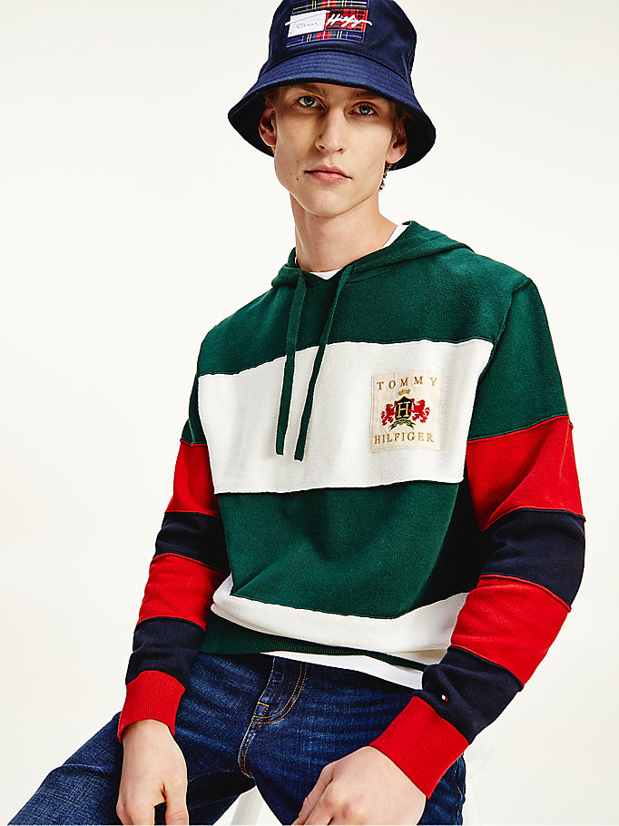 felpa rugby relaxed fit color block verde da uomo tommy hilfiger