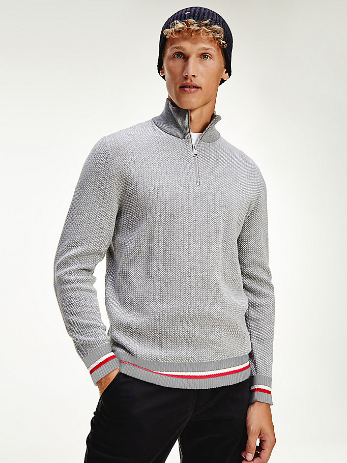 grey micro print half-zip jumper for men tommy hilfiger