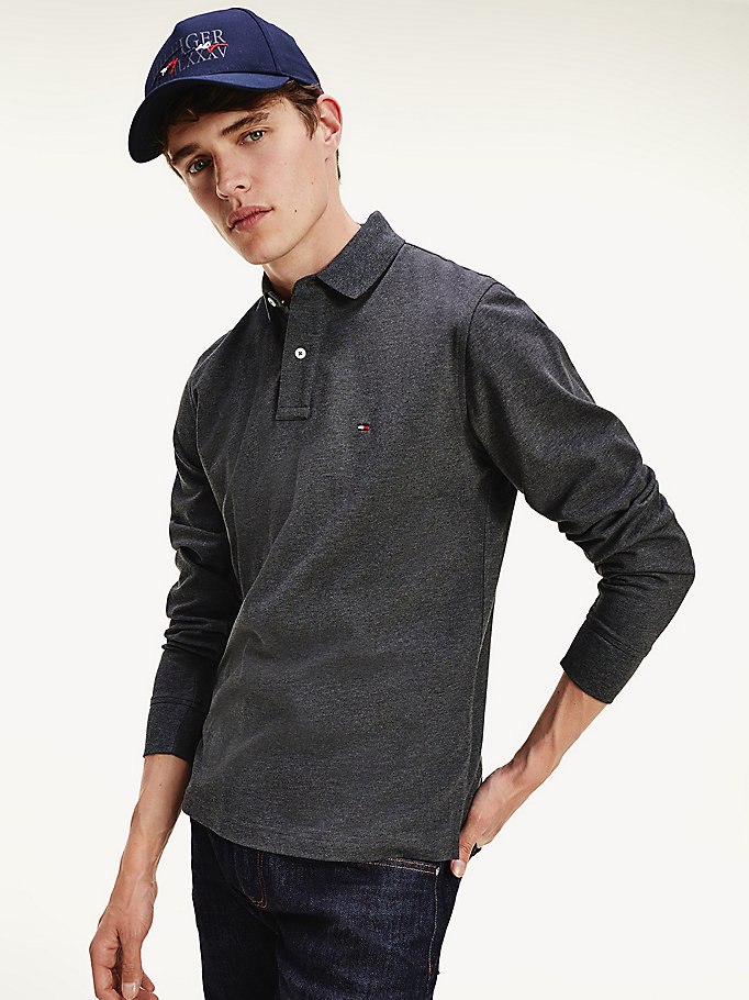 black flag embroidery long sleeve tommy polo for men tommy hilfiger