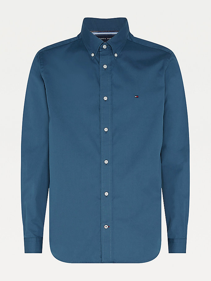 blue fine twill shirt for men tommy hilfiger