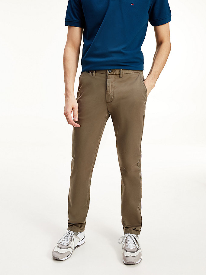 brown denton th flex satin chinos for men tommy hilfiger