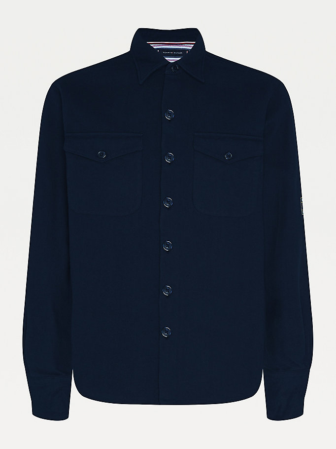 blue heavy twill oversized fit overshirt for men tommy hilfiger