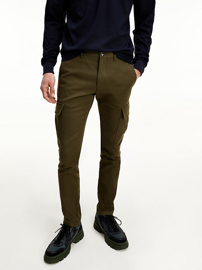 green bleecker cargo pockets slim fit trousers for men tommy hilfiger