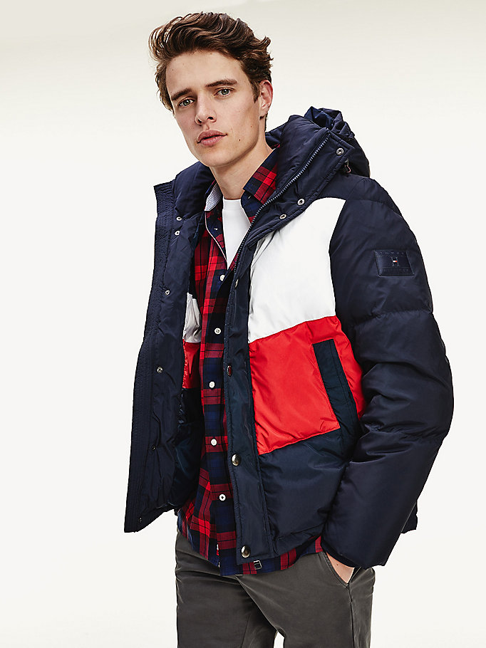 blue chevron colour-blocked hooded jacket for men tommy hilfiger