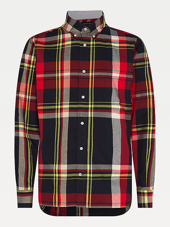 black plaid check shirt for men tommy hilfiger