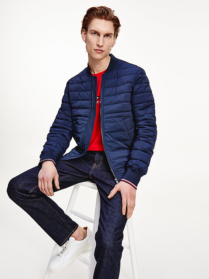 blue padded bomber jacket for men tommy hilfiger