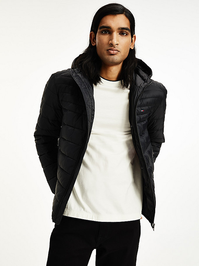 black packable down hooded puffer jacket for men tommy hilfiger