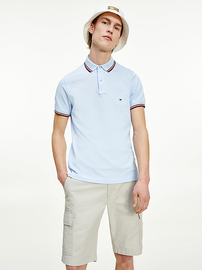 polo slim fit in cotone biologico blu da men tommy hilfiger