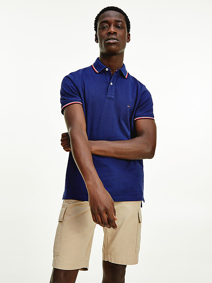 blue tipped organic cotton slim fit polo for men tommy hilfiger