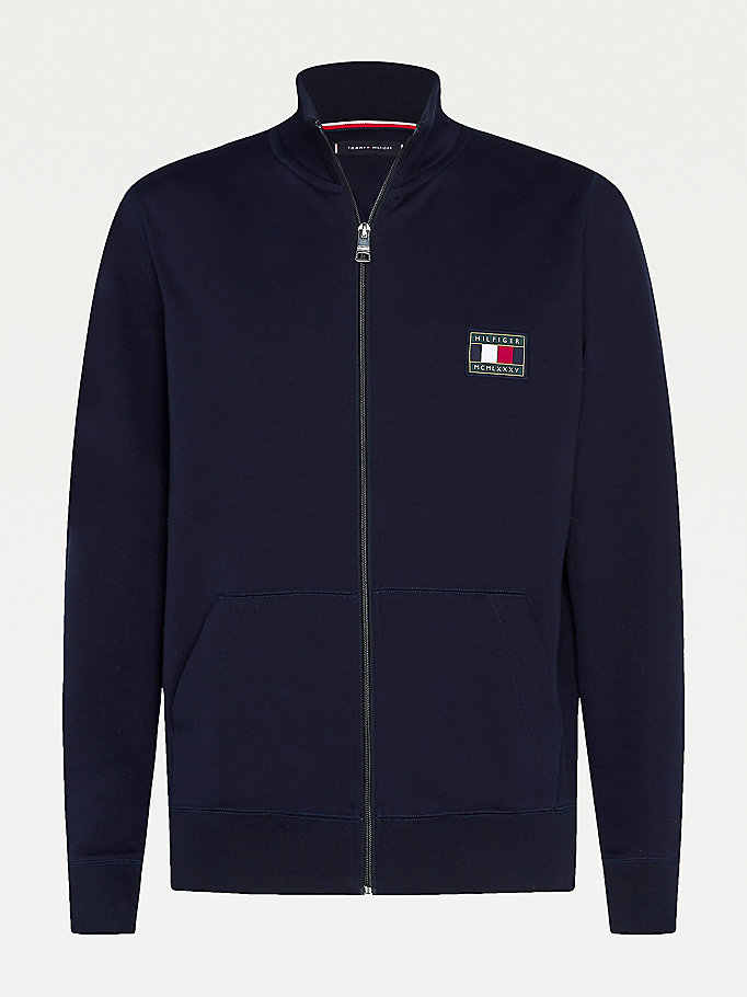 blue big & tall tommy icons essential zip-thru sweatshirt for men tommy hilfiger
