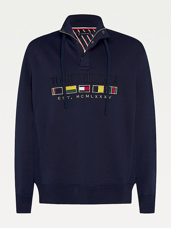 blue big & tall tommy icons flag zip collar sweatshirt for men tommy hilfiger