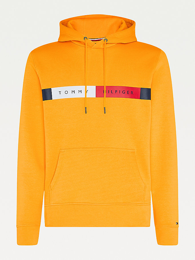 yellow big & tall organic cotton fleece hoody for men tommy hilfiger