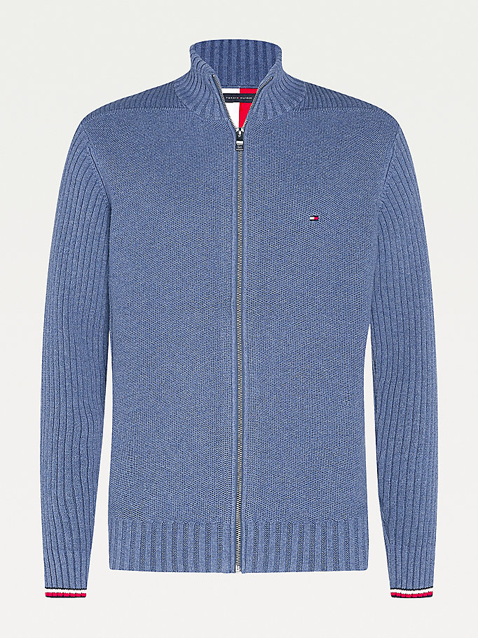 cardigan big & tall in puro cotone con zip blu da men tommy hilfiger