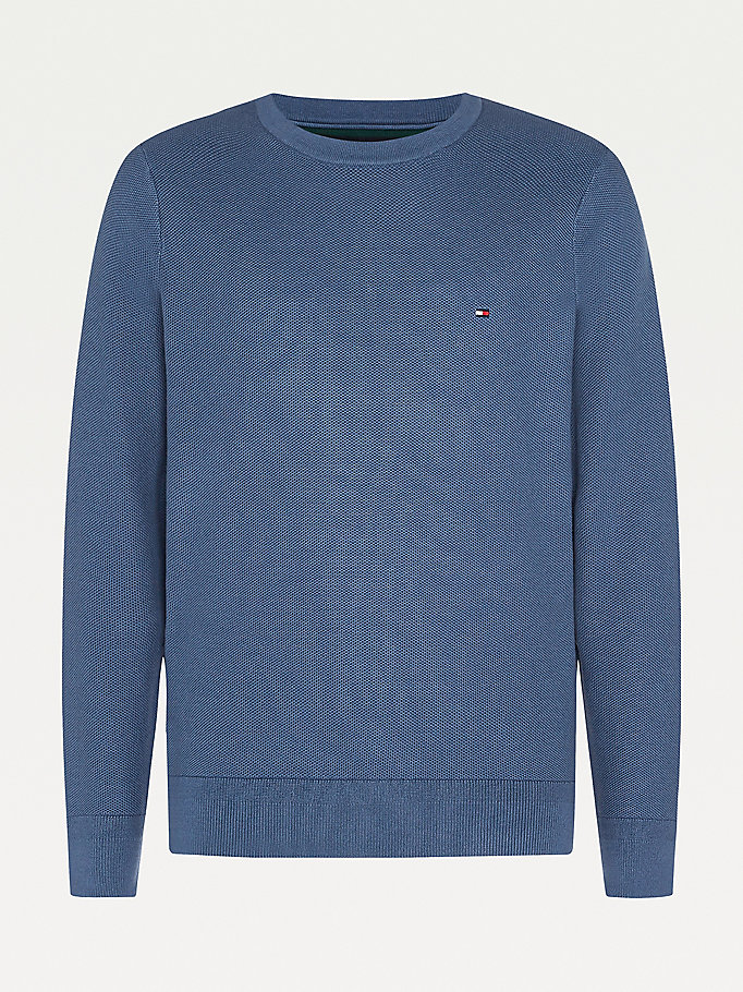 blue big & tall honeycomb knit jumper for men tommy hilfiger